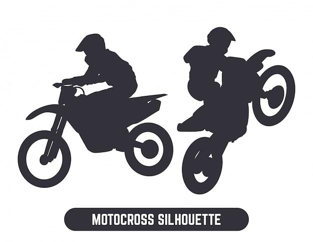 Motorcross sprong silhouet set Premium Vector