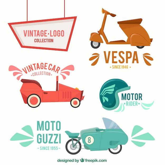 Motorfiets collectie vintage stijl Gratis Vector