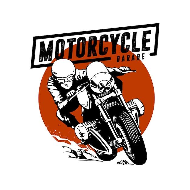 Motorfiets illustratie garage Premium Vector