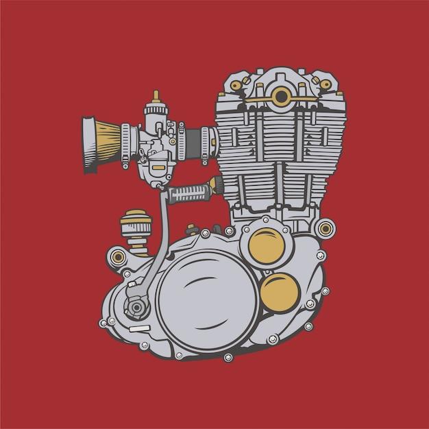 Motorfiets motor illustratie Premium Vector