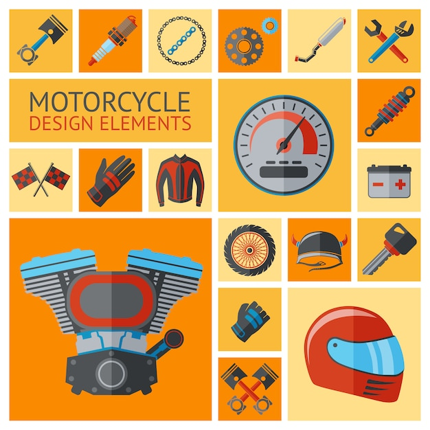 Motorfiets onderdelen en elementen instellen Premium Vector
