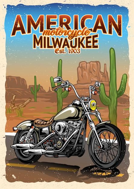 Motorfiets poster in amerikaanse woestijn Premium Vector