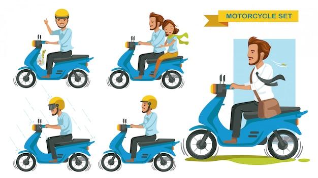 Motorfiets set. man gebaren rijden veel motorfietsen. duimen omhoog. paar rijden op een motorfiets. rijden in de regen. rij veilig, draag een helm. Premium Vector