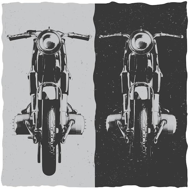 Motorfiets t-shirt labelontwerp met illustratie van klassieke motorfiets Gratis Vector