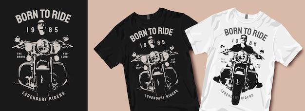 Motorfiets t-shirt ontwerpen silhouetten Premium Vector