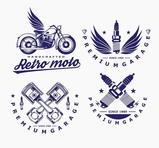 Motorfiets vector, gloeibougie pictogram, transport logo. Premium Vector