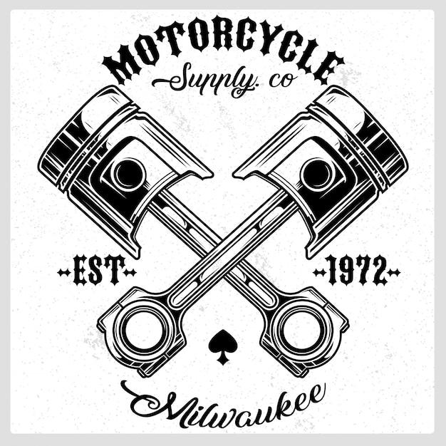 Motorfiets zuiger vector logo Premium Vector