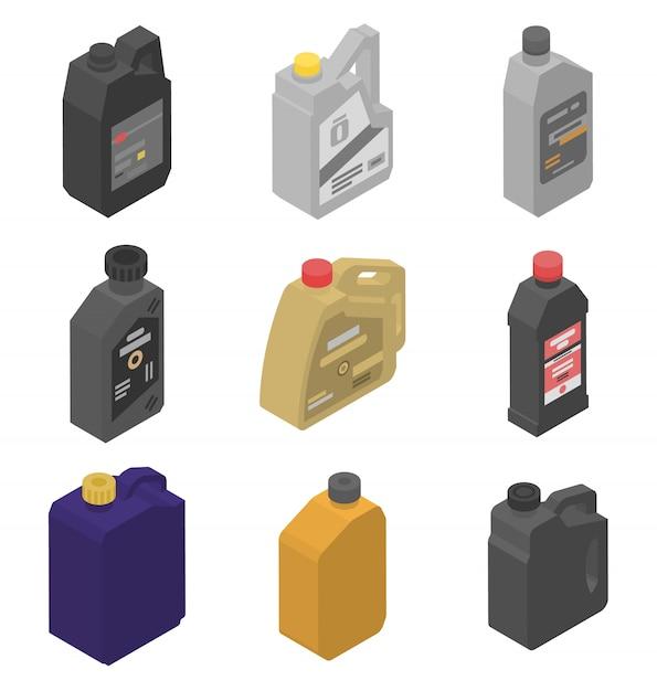 Motorolie iconen set, isometrische stijl Premium Vector