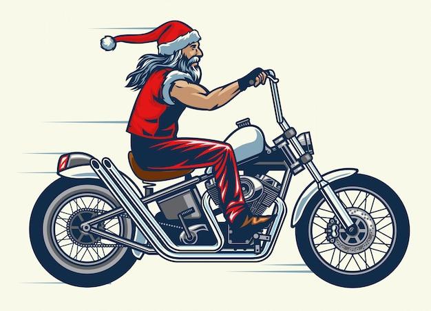 Motorrijder rijdt op de chopper-fiets en gekleed in santa claus-kostuum Premium Vector