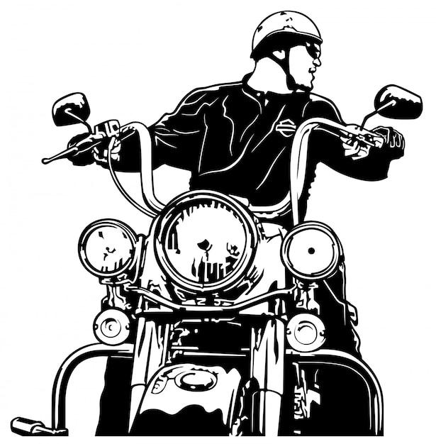 Motorrijder vooraanzicht Premium Vector