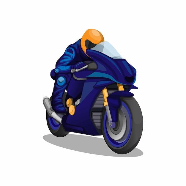 Motorsport racen versnellen in blauw uniform karakter concept op witte achtergrond Premium Vector