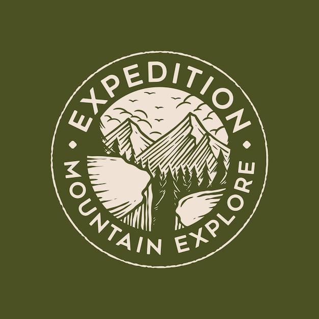 Mountain badge logo ontwerp Premium Vector