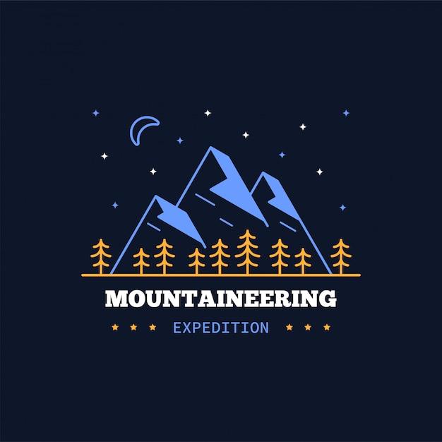Mountain expeditie badge. lijn illustratie. klimmen, wandelen, wandelen embleem Premium Vector