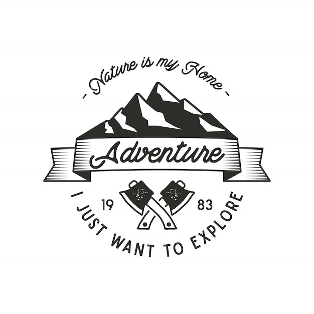Mountain expedition adventure label met bijl symbolen en typografie design karakter is mijn thuis. vintage oude stijl. buitenshuis avontuur embleem voor t-shirt print. vector geïsoleerd. wildernis patch, stempel Premium Vector