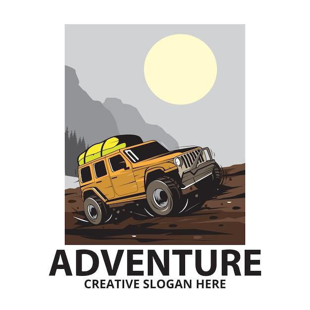 Mountain reizen jeep Premium Vector