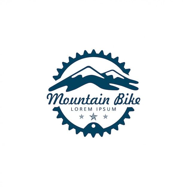 Mountainbike en versnelling of kettingringlogo Premium Vector