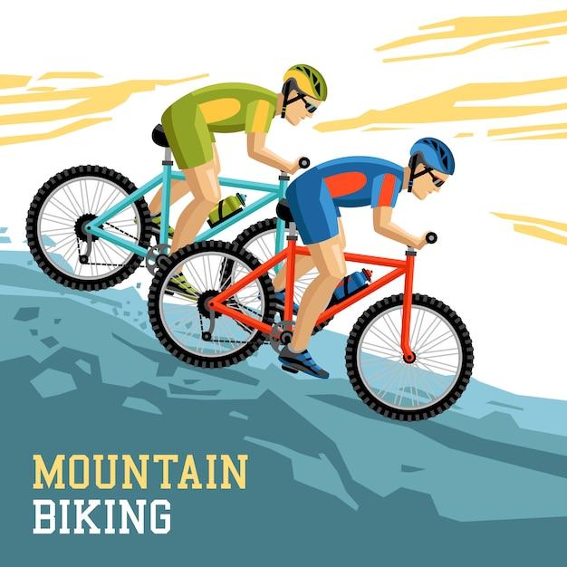 Mountainbiken illustratie Gratis Vector