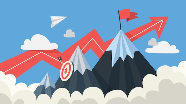 Mountaing als metafoor voor doel en succes. markeer bovenaan als motivatie voor zakelijke vooruitgang en carrière. vlak Premium Vector