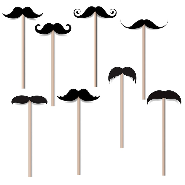 Moustache big collection Premium Vector