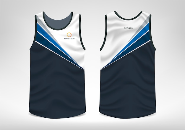 Mouwloos sport-t-shirtontwerp Premium Vector