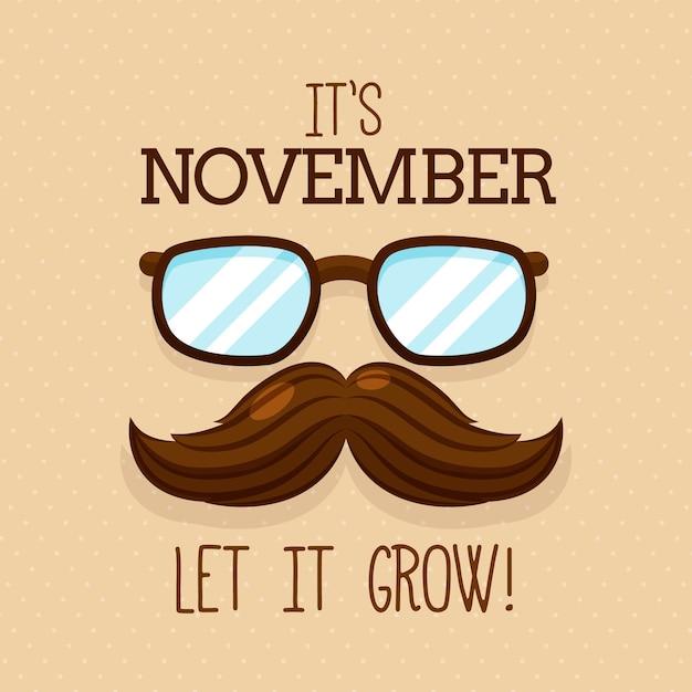 Movember-achtergrond met snor en glazen Gratis Vector
