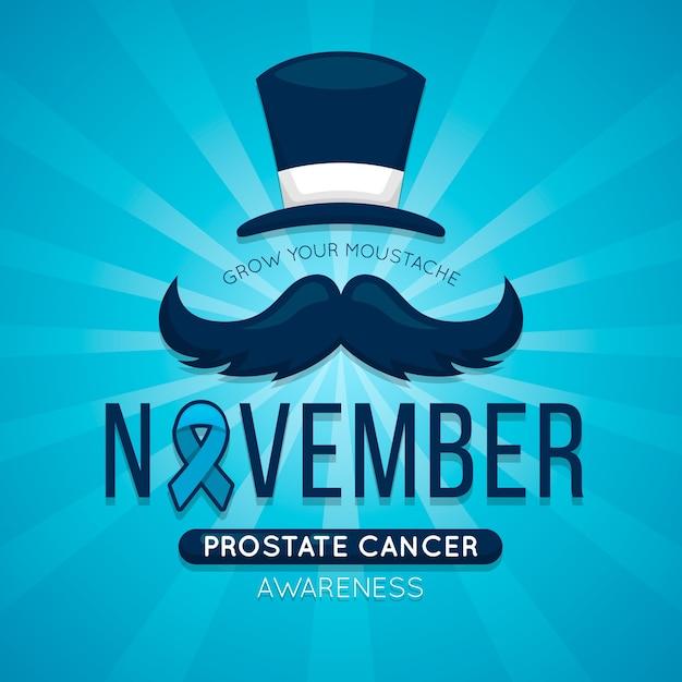 Movember behang met blauw lint Gratis Vector