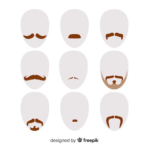 Movember bewustzijnsnorcollectie in plat ontwerp Gratis Vector