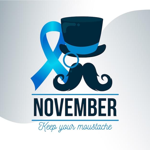 Movember-concept in plat ontwerp Gratis Vector