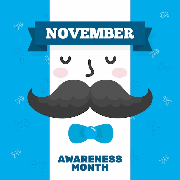 Movember-concept in plat ontwerp Gratis Vector