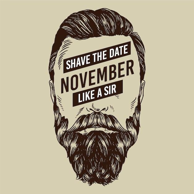 Movember-concept met vintage design Gratis Vector