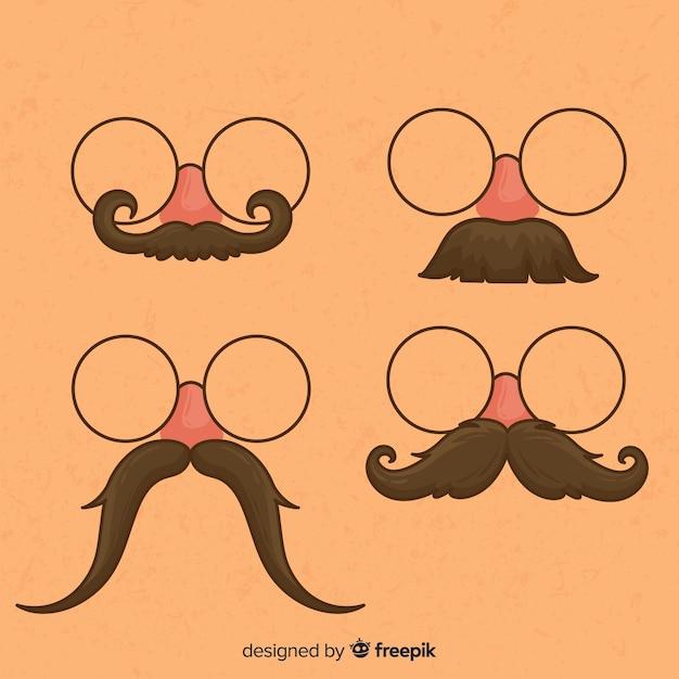Movember snorcollectie in verschillende vormen in platte uitvoering Gratis Vector