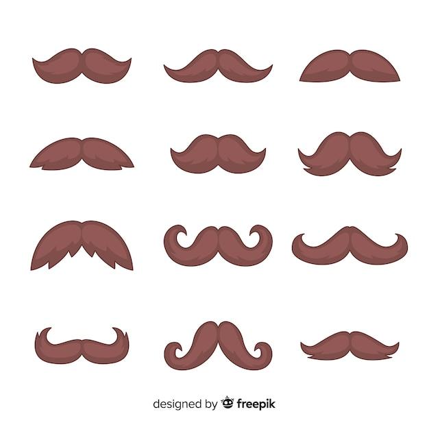 Movember snorpakverzameling in plat ontwerp Gratis Vector