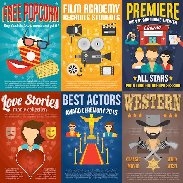 Movie poster set Gratis Vector