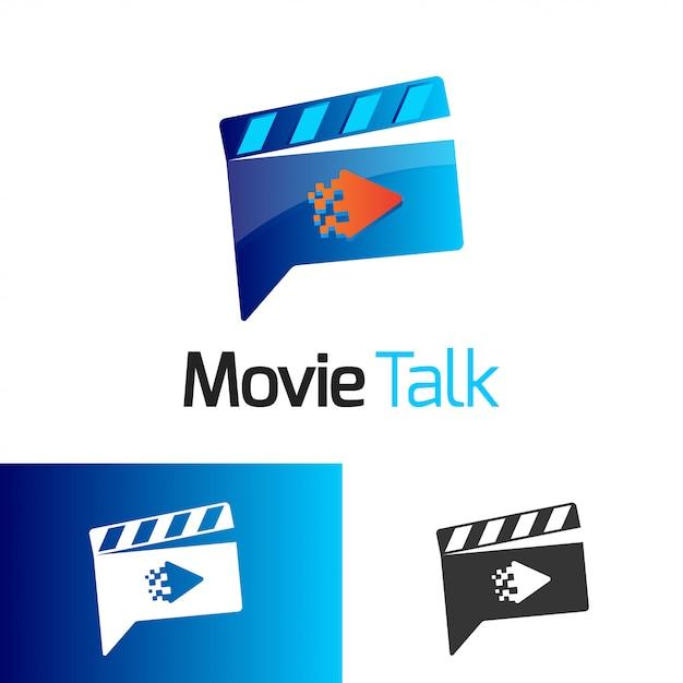 Movie talk logo vector Premium Vector