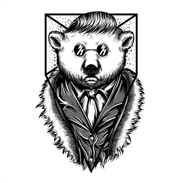 Mr polar bear zwart en wit illustratie Premium Vector