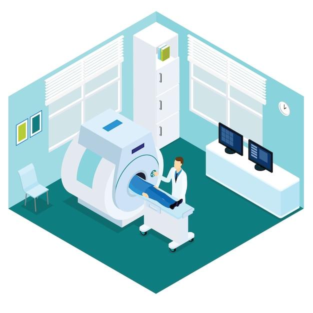 Mri diagnostische procedure isometrisch concept Gratis Vector