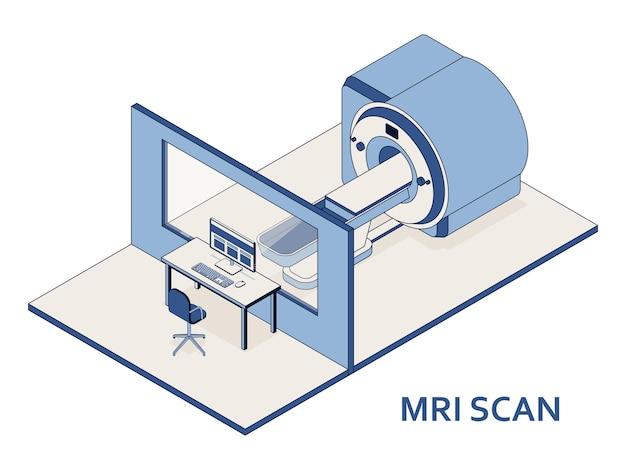 Mri- of magnetic resonance imaging-scanapparaat. medische apparatuur en gezondheidszorg. interieur van de afdeling radiografie met mri-scanner in het ziekenhuis. Premium Vector