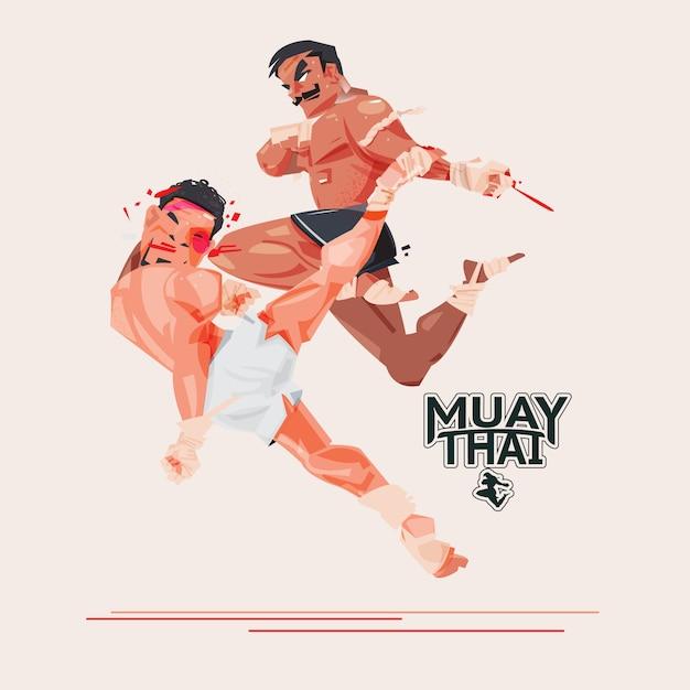 Muay thai. thais boxen. vechtsport en vechtsportenconcept Premium Vector