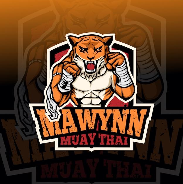 Muay thai tijger mascotte esport logo Premium Vector