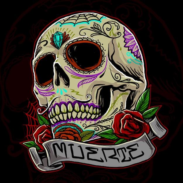 Muertos schedel illustratie Premium Vector