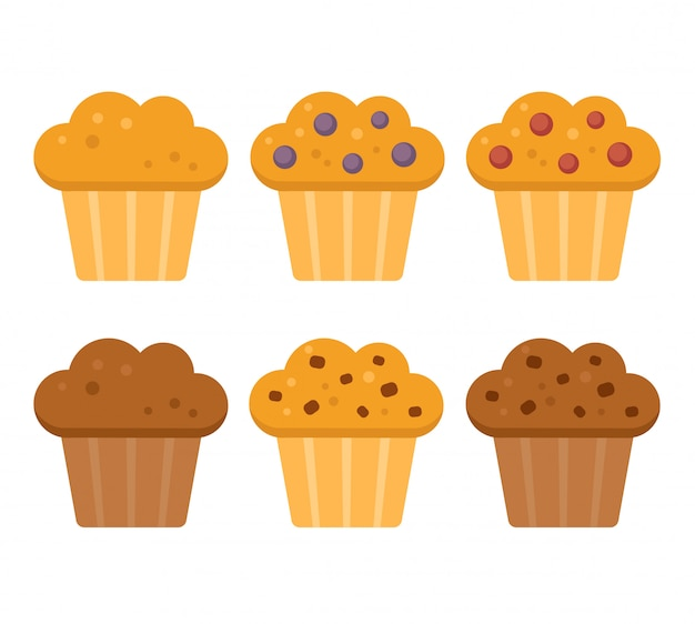 Muffin icon set, blueberry, cranberry, chocolade met chocoladeschilfers. Premium Vector