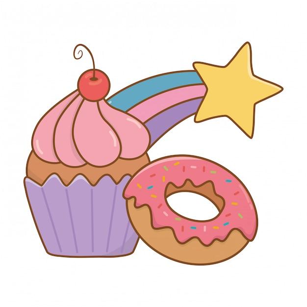 Muffin met donut en vallende ster Premium Vector
