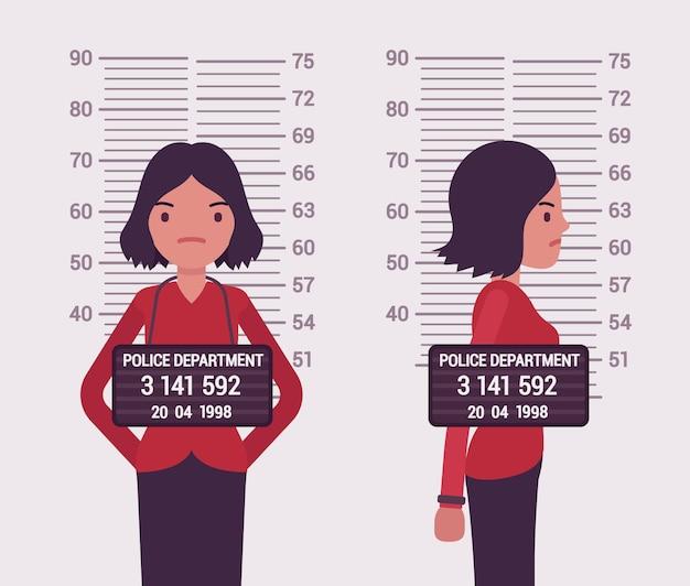 Mugshot van een jonge blanke vrouw Premium Vector