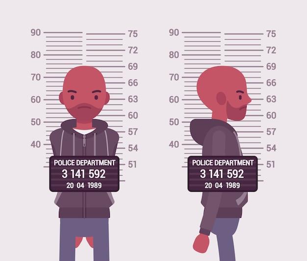 Mugshot van een jonge zwarte man Premium Vector