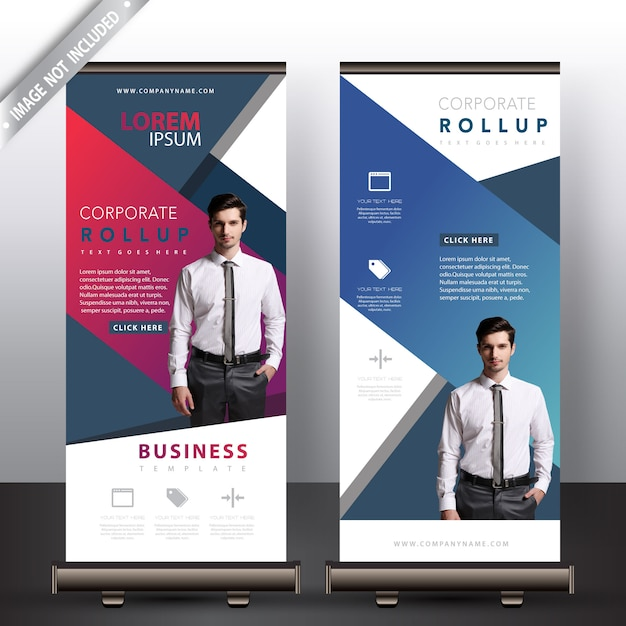 Multi-color commerciële roll-up banners Gratis Vector