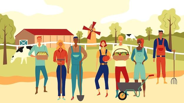 Multi-etnisch team van boeren die samenwerken op de boerderij-achtergrond. Premium Vector