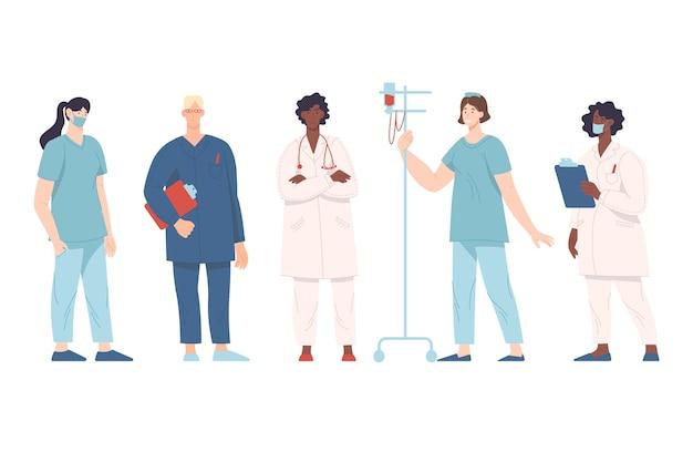 Multi-etnisch team van professionele artsen Gratis Vector