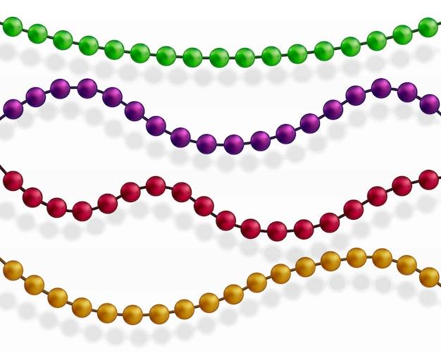 Multi gekleurde kralen. mooie ketting van verschillende kleuren. Premium Vector
