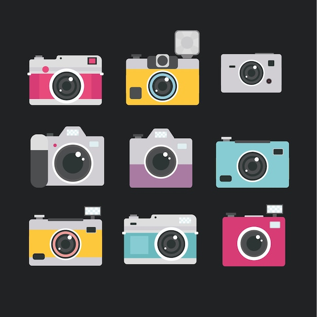 Multicolor camera collectie Gratis Vector
