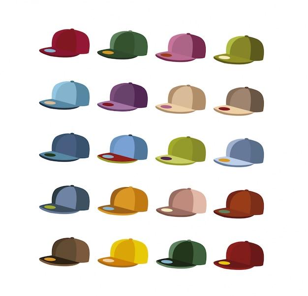 Multicolor cap collectie Gratis Vector
